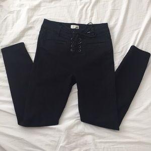 Pants - Lace Up Black Pants